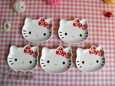 CERAMIC White Color Red Bow KITTY Face 5pcs Set Serving PLATE Serve Cake / Salad