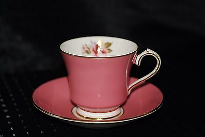 AYNSLEY FINE ENGLISH BONE CHINA TEA CUP AND SAUCER PINK GOLD RIM AND PINK ROSE