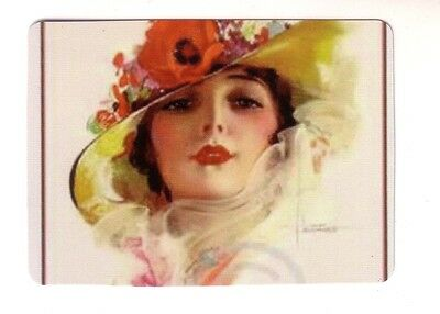 Beautiful Pin Up Art Deco Lady in Floral Hat -- Wide Linen Swap Playing Card