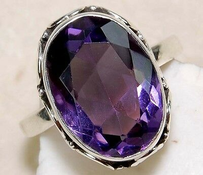 6CT Natural Amethyst Genuine 925 Solid Sterling Silver Detailed Design Ring Sz 6