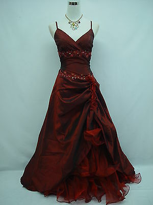 Cherlone Satin Red Ballgown Evening Formal Bridesmaid Full Length Dress 12-14