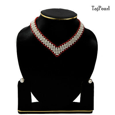 Bollywood Stylish Elegant Classy Pure Freshwater Pearl Necklace Red White
