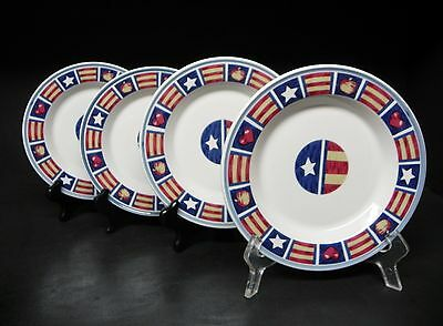 TIENSHAN RED WHITE & BLUE AMERICANA  LOT OF 4 SALAD PLATES