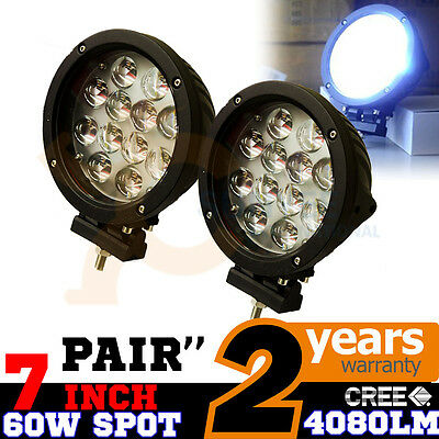 2x 7INCH 60W CREE LED DRIVING WORK LIGHTS SPOT OFFROAD REPLACE HID BAR 12V 24V