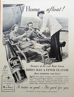 1937 ORIG. PRINT AD HIRES R-J ROOTBEER at home, afloat, couple on ship deck