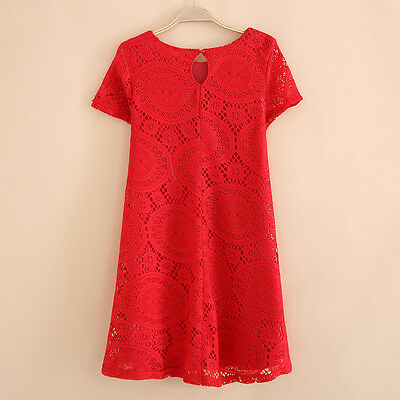 Red Women Fashion Sexy Lace Floral Casual Short Party Evening Cocktail Dress L