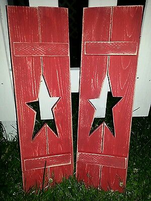 Primitive country wall hanger decor handcrafted shutters star cutouts
