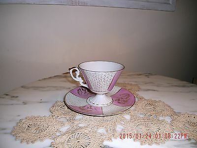 Vintage Napcoware China Footed Tea Cup & Saucer C-6912 IMPORT Japan Mint *