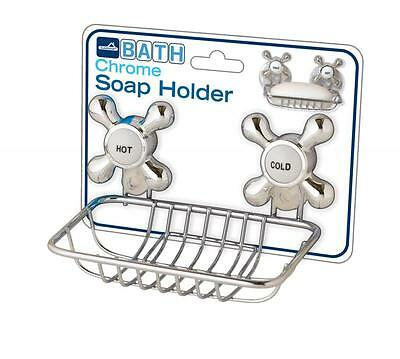 Chrome Soap Dish with Suction Cups Hot Cold Fancy Bath Shower Metal Rustproof