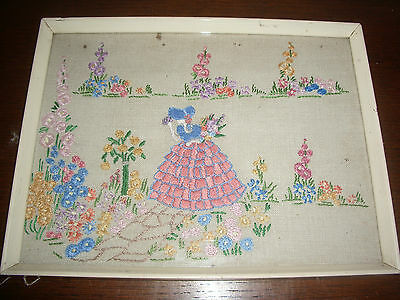 Pretty Little Vintage Framed Embroidery Project Crinoline Lady