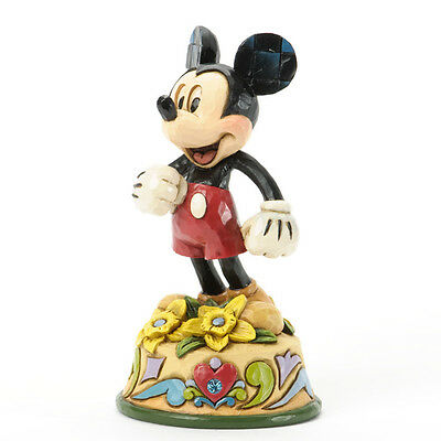 Jim Shore Disney Traditions Mickey Mouse March Birthstone Aquamarine Flower Daff