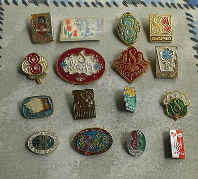 Lot of 16 USSR SOVIET  Russian Pin Badge International Women's Day MARCH 8 # 66