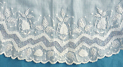 Antique mid 19C whitework embroidered childs apron