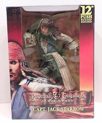 """NECA Pirates Of The Caribbean Captain Jack Sparrow 12"""" Figure With Sound"""
