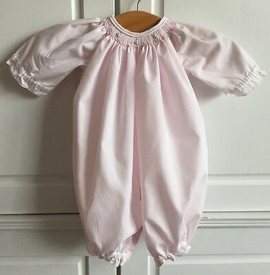 """PETIT AMI Smocked Embroidered Pink Premie Gown """"Take Me Home"""" Outfit Spring"""