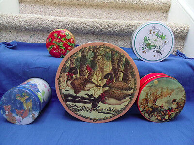 Lot of 5 Tin Canister of Various sizes & conditions.  See pictures.