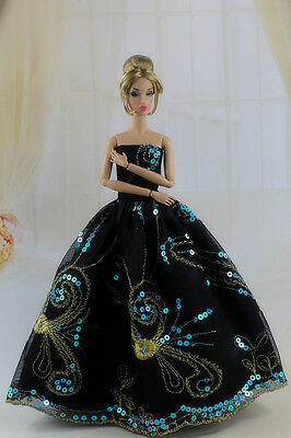 Fashion Royalty Black Sequin Princess Party Dress Ballgown For Barbie Doll a014!