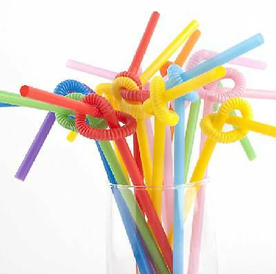 100 Pcs Party Kids Plastic Mixed Colours Disposable Bendy Drink Drinking Straws