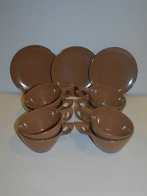 Vintage 9 PIECES Texas Ware 6 CUPS 3 dessert plates BROWN replacements CAMPING