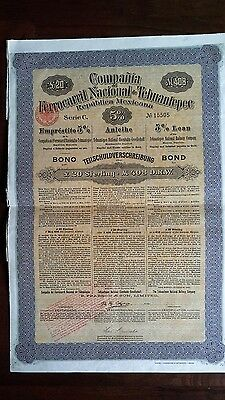 Mexico Mexican 1904 Compania Ferrocarril Tehuantepec 20 Pounds Coupons Bond Loan