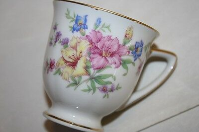 Vintage Heinrich H&Co Demitasse Tea Cup Cappuccino Cup pink yellow ORchids