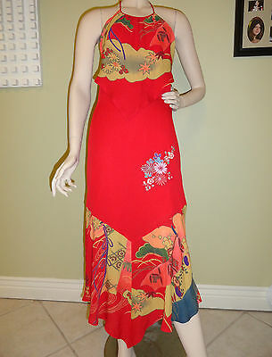 STUNNING SUE WONG WOMAN'S DRESS SMALL RED EMBROIDED  EXCELLENT PARTY EVENING
