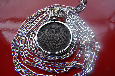 "Antique German Empire Eagle Bezel Pendant on a 30"" 925 Sterling Silver Chain"