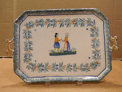 Quimper France Serving Tray Teal BlueTrim Peasant Man & Woman  1922-68