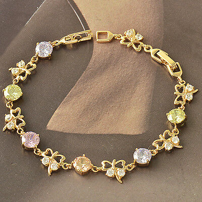 Rare 9K Yellow Gold Filled Multicolor CZ Womens Butterfly Bracelet F3984