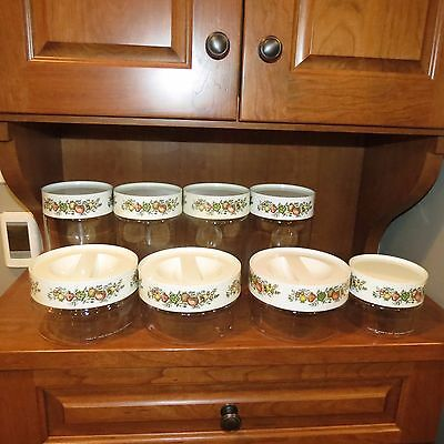 Vintage Set of 8 Corning Ware Spice of Life Glass Canisters