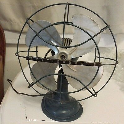 """WORKING 1950's WestingHouse 10"""" Electric Table Fan Metal Blades"""