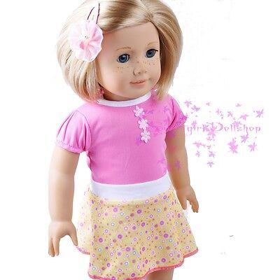 """New Handmade For American Girl Pink&Yellow Cute Skirt Dress 18""""Doll Clothes"""