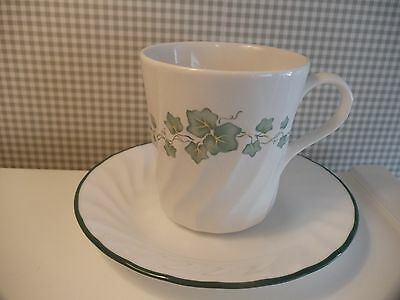 Corelle/Corning CALLAWAY IVY Coffee MUGS and SAUCERS ~ 8 Sets ~ 16 Pieces
