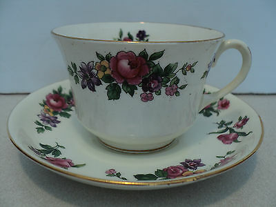 VINTAGE AYNSLEY TEA CUP AND SAUCER ROSES RED YELLOW GOLD TRIM NUMBERED