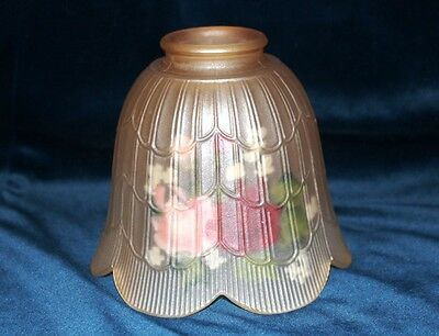 VINTAGe GLASS ART DECO BULB SHADE / GLOBE REVERSE HAND PAINTED & OPAQUE signed