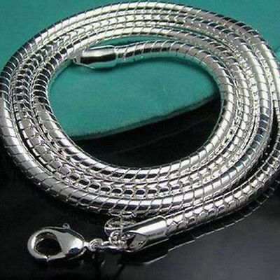 Hot Women Lady Girl 925Sterling Silver Plated Snake Pendant Necklace Long Chain
