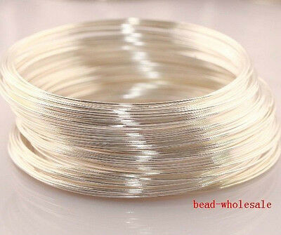 100 Circle Silver Plated Memory Steel Wire For Cuff Bracelet  0.6x55mm