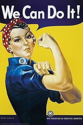 NEW - Vintage WWII Rosie the Riveter We Can Do It War Poster Print 24 x 36