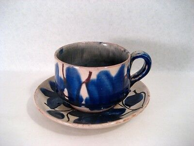VINTAGE MEXICAN DRIPWARE COBALT BLUE FLORAL PATTERNED CUP AND SAUCER - NO RESERV