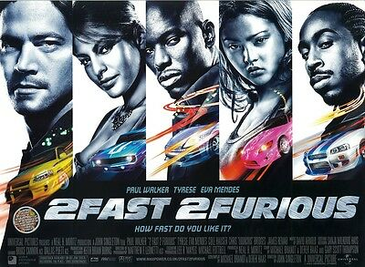 2FAST 2 FURIOUS movie poster PAUL WALKER poster TYRESE : Fast and the Furious