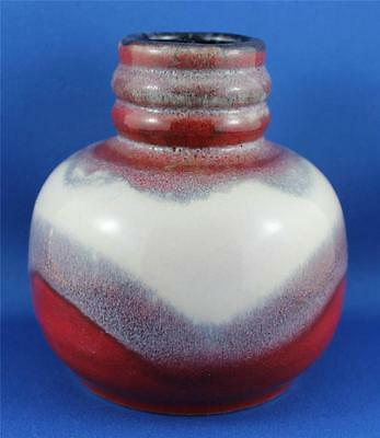 DT810 - Jasba West German Red White 1168-12 Pottery Vase