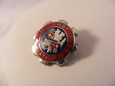 Vintage lapel pin Sterling silver enamel H.A.Past president NIsi Dominus Frustra