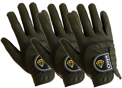 New Onyx Mens' Golf Gloves 3 Pack ... All Weather ... Right Hand Medium... Black