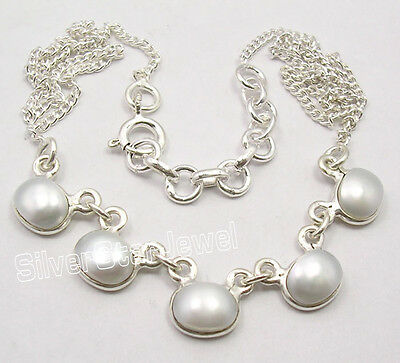 """925 Pure Silver Natural AAA FRESH WATER PEARL Lovely Elegant Necklace 16 3/4"""""""