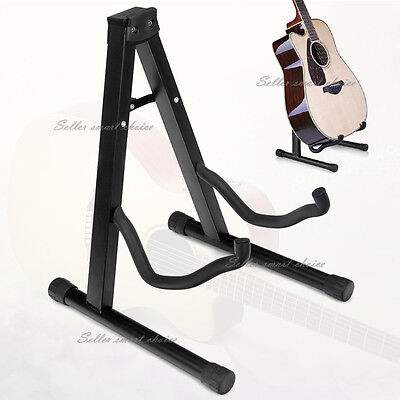 Portable Folding Electric Acoustic Bass Guitar Stand A Frame Floor Rack Holder