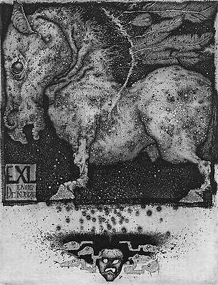 "Ex-libris Exlibris ""PEGASUS"" by K. Antioukhin (Ukr). Graphics. Etching Bookplate"