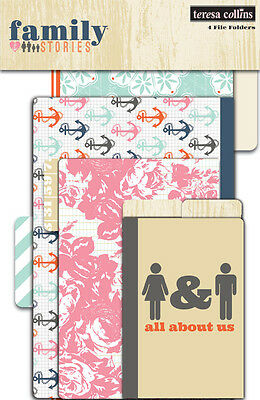 Teresa Collins Family Stories Journal File Folders X4  Scrapbooking