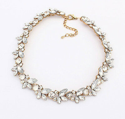 Newest Women Retro Flower Bib Statement Chain Chunky Collar Party Necklace 5521d