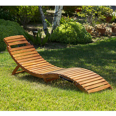 Set of 2 Outdoor Patio Furniture Wooden Folding & Portable Chaise Lounge Chairs