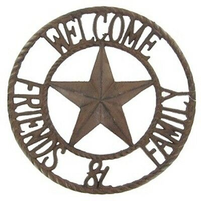 Cast Iron WELCOME SIGN Friends & Family Star Western Style Wall Plaque Saloon
